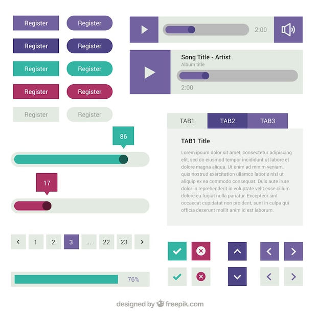 Variety of web elements in flat design