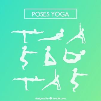 Variety of white yoga silhouettes