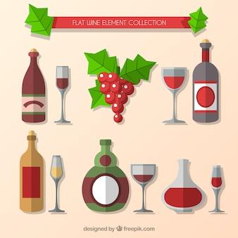 Variety of wine bottles in flat design