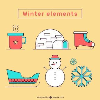 Variety of winter elements in falt design