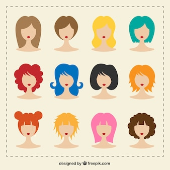 Variety of woman hairstyle