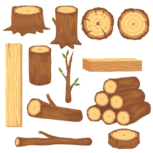 Variety of wood logs and trunks flat pictures set