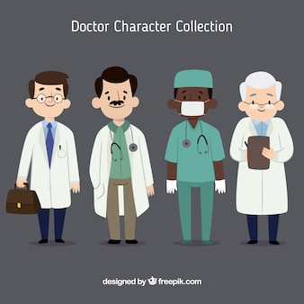 Variety of young and old doctors