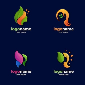 Various abstract women face logo gradient style for boutique beauty salon spa