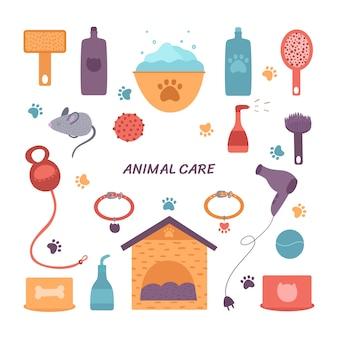 애완 동물 관리를위한 다양한 액세서리.