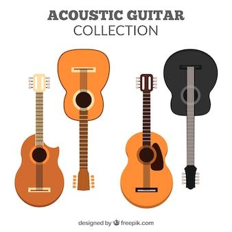Various acoustic guitars in flat design