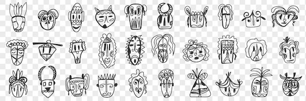 さまざまなアフリカの古代のマスクの落書きセット。分離されたさまざまなパターンや形のアフリカ民族の手描きのフェイスマスクのコレクション。