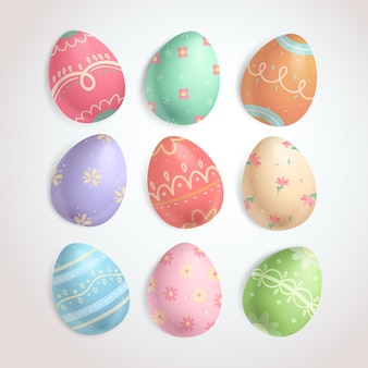 Various angles of easter eggs collection