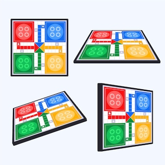 Various angles of ludo board game