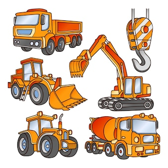 Various angles and perspectives of excavators