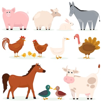 Various animals pets farm flat set of cartoon characters