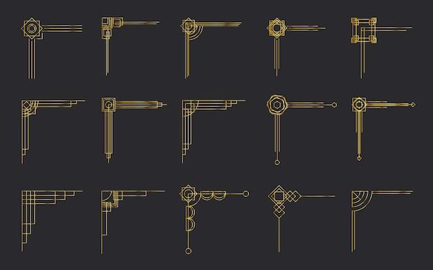 Набор различных старинных золотых филигранных уголков