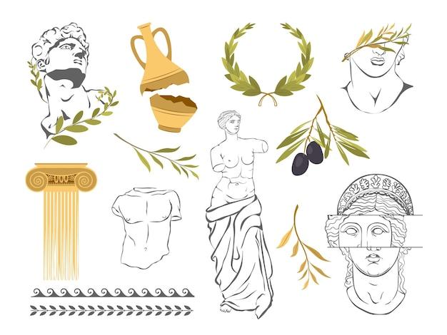 다양한 골동품 동상