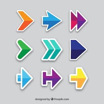Various arrow stickers in flat design