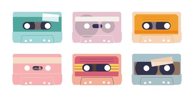 다양한 오디오 테이프 오디오 카세트의 고립 된 그림 복고풍 디자인 요소 집합 프리미엄 벡터