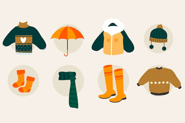 Набор различных осенних предметов и одежды