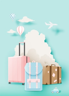 Various bag and luggage for travel in paper art style
