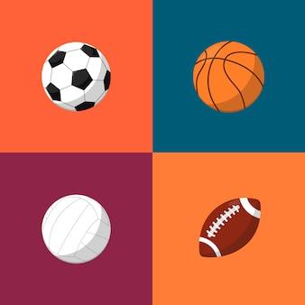 Various balls icons set