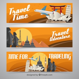 Various banners of monuments in flat design