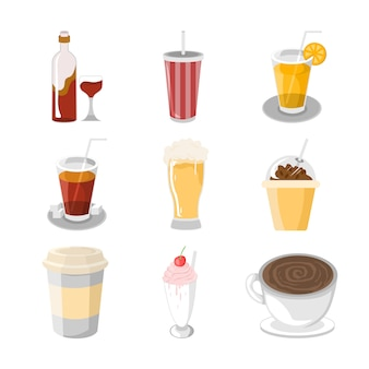 다양 한 음료 카페 일러스트 세트