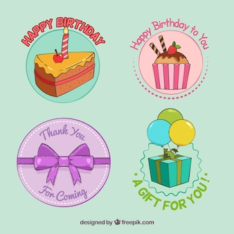 Various birthday stickers hand-drawn in vintage style