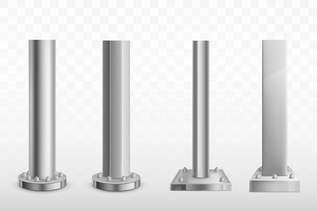 Various bolted steel piles realistic vector set