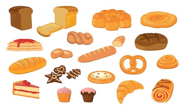 Различный хлеб плоский векторная коллекция