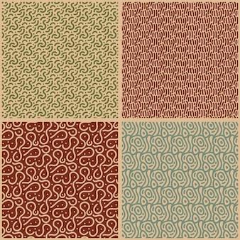 線のさまざまな茶色の色合いのシームレスなパターンテンプレート
