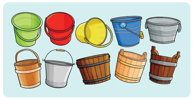 Various bucket collection in simple doodle styl