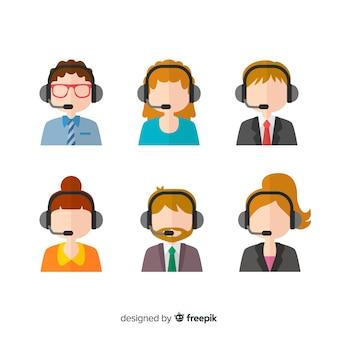 Vari avatar di call center in stile piatto
