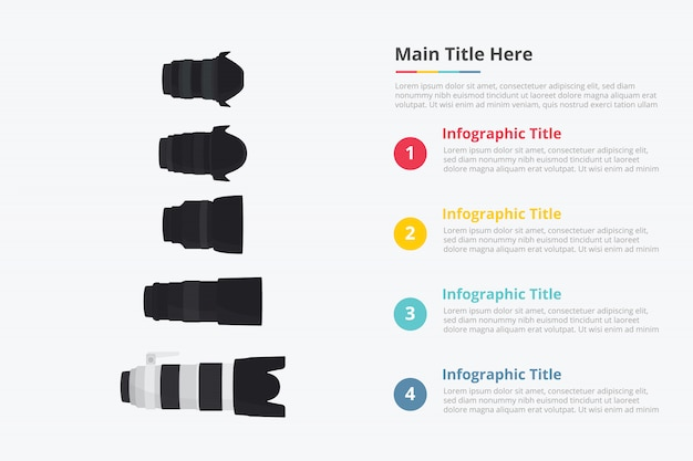 Various camera lens set collection template