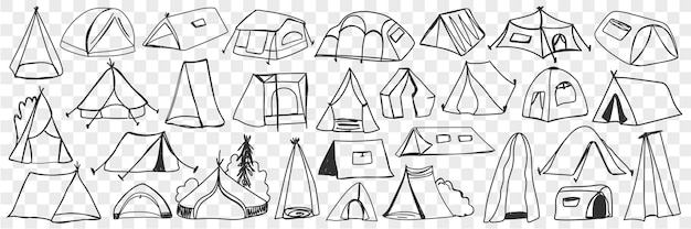 다양한 캠핑 텐트 낙서 세트. 고립 된 관광 여행에 대 한 손으로 그린 캠핑 임시 집 텐트의 컬렉션입니다.