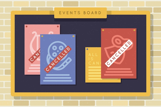 Various cancelled events announcement billboard