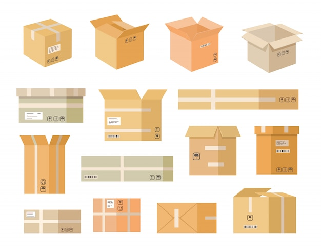 Various cardboard boxes flat icon set
