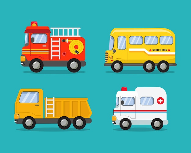 Various cars collection firefighter car school bus dump truck and ambulance clip art
