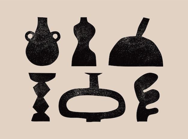 다양한 세라믹 꽃병 다른 모양 검은 실루엣 골동품 고대 도자기