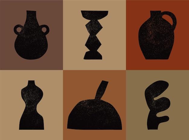 さまざまな陶製の花瓶さまざまな形黒いシルエットアンティークの古代の陶器