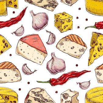 さまざまなチーズのシームレスな背景