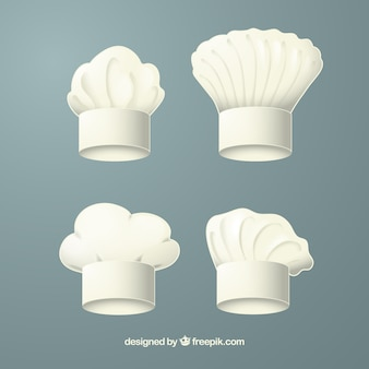 Various chef hats in realistic design