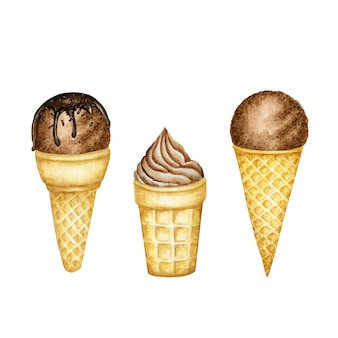 Various chocolate ice-cream scoops decorated with chocolate in waffle cone set.