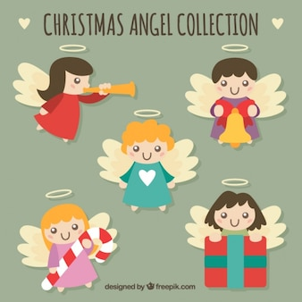 Various christmas angels with ornaments
