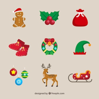 Various christmas decorative elements