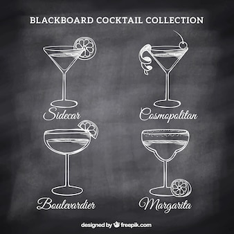 Various cocktails drawings on a blackboard