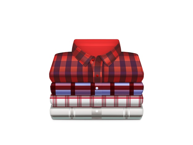 Various color, checkered cotton shirts folded in stack