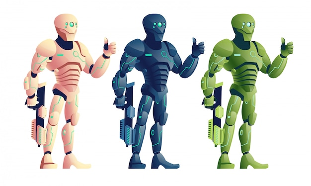 Various color, future cyborg warriors, soldiers in futuristic armor, alien army robot
