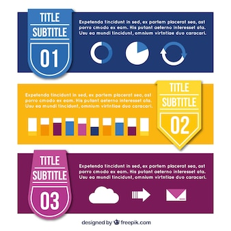 Various colored infographic banners