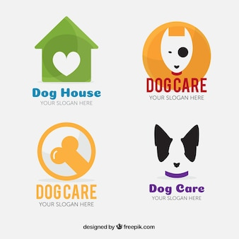 Various colored logos for dogs Premium Vector
