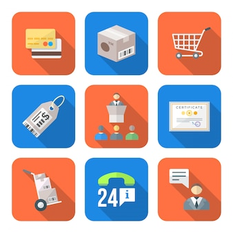Various colorful flat style business distribution marketing process icons set
