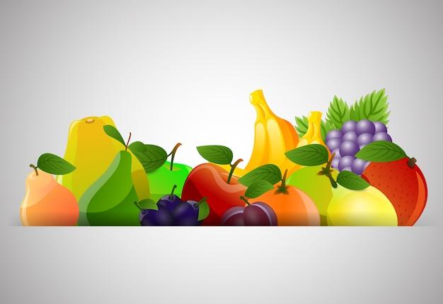 灰色の背景に様々なカラフルな果物