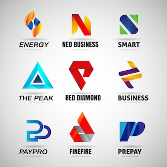 Various colorful letter logo business collection